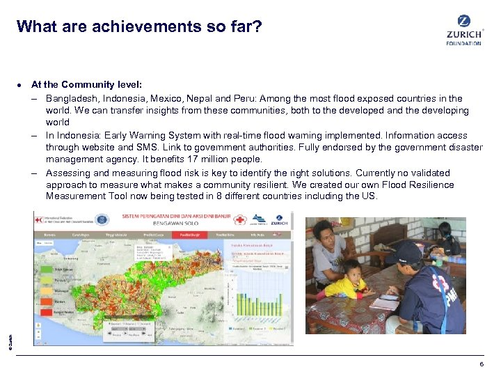 What are achievements so far? © Zurich At the Community level: – Bangladesh, Indonesia,