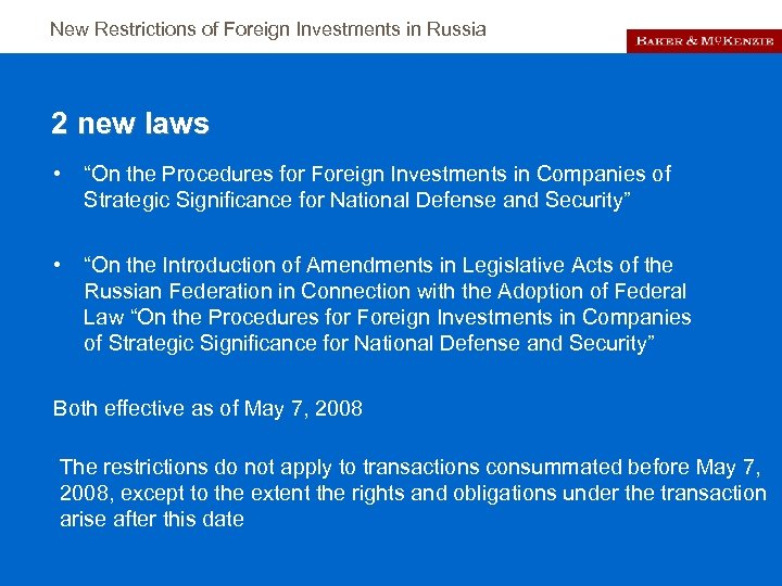 """New Restrictions of Foreign Investments in Russia 2 new laws • """"On the Procedures"""