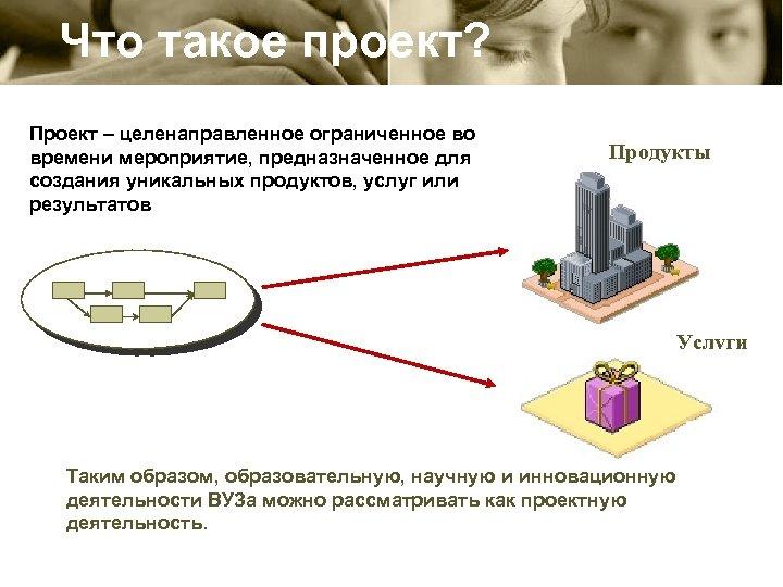 Что такое проект? Проект – целенаправленное ограниченное во времени мероприятие, предназначенное для создания уникальных