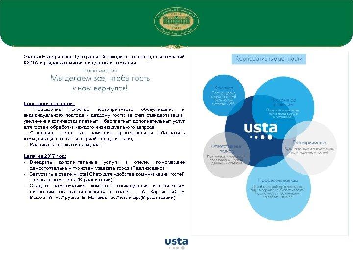 Отель «Екатеринбург-Центральный» входит в состав группы компаний ЮСТА и разделяет миссию и ценности компании.