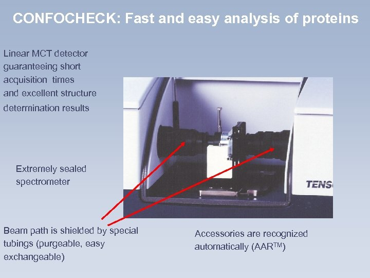 CONFOCHECK: Fast and easy analysis of proteins Linear MCT detector guaranteeing short acquisition times