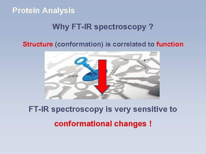 Protein Analysis Why FT-IR spectroscopy ? Structure (conformation) is correlated to function FT-IR spectroscopy