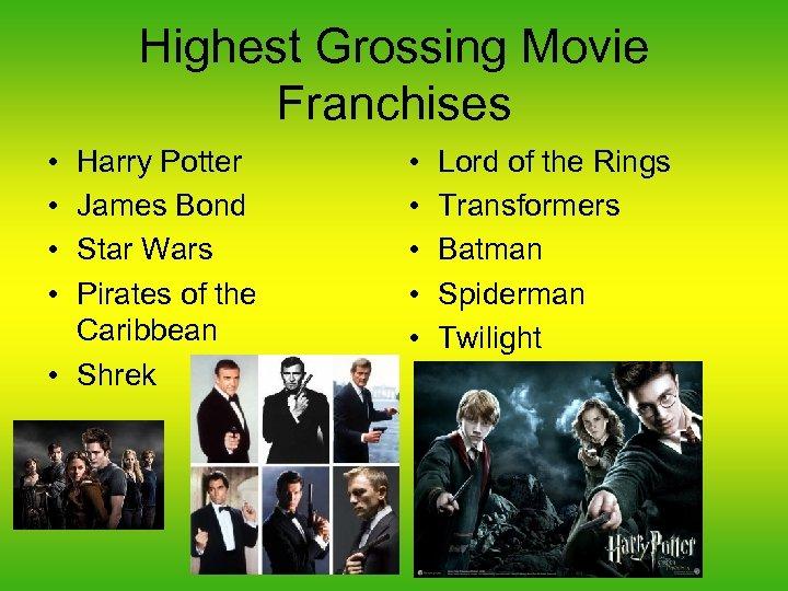 Highest Grossing Movie Franchises • • Harry Potter James Bond Star Wars Pirates of
