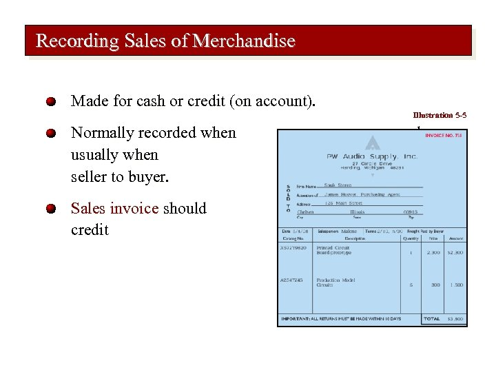 Recording Sales of Merchandise Made for cash or credit (on account). Illustration 5 -5