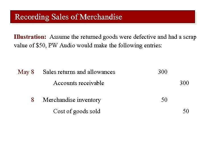 Recording Sales of Merchandise Illustration: Assume the returned goods were defective and had a