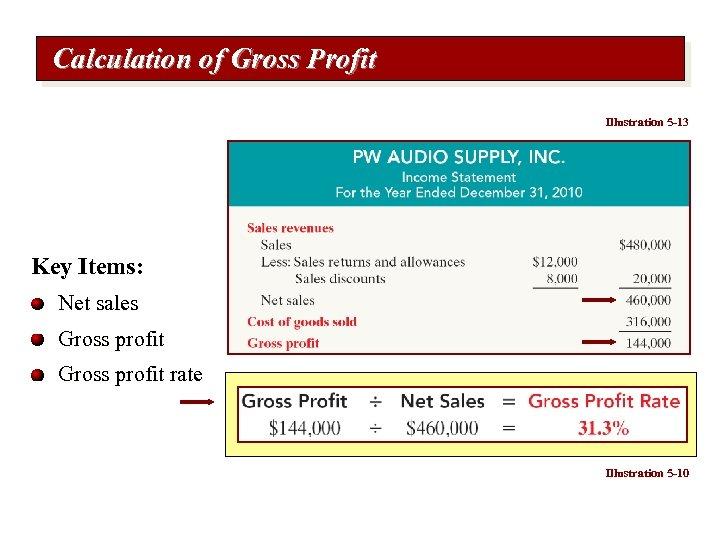 Calculation of Gross Profit Illustration 5 -13 Key Items: Net sales Gross profit rate
