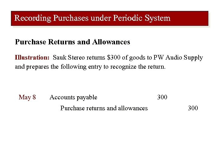 Recording Purchases under Periodic System Purchase Returns and Allowances Illustration: Sauk Stereo returns $300