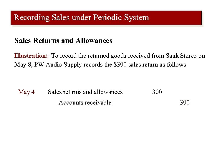 Recording Sales under Periodic System Sales Returns and Allowances Illustration: To record the returned