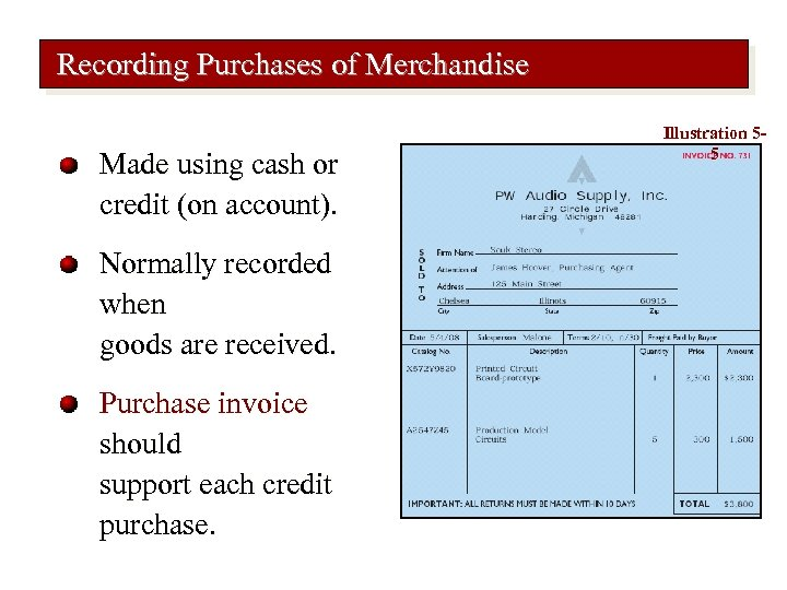 Recording Purchases of Merchandise Made using cash or credit (on account). Normally recorded when