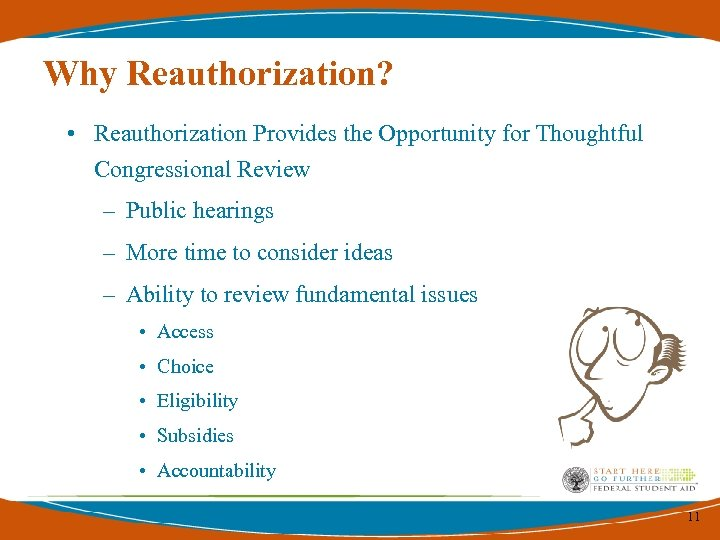 Why Reauthorization? • Reauthorization Provides the Opportunity for Thoughtful Congressional Review – Public hearings