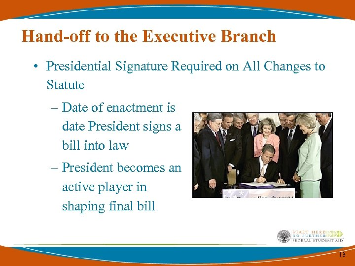 Hand-off to the Executive Branch • Presidential Signature Required on All Changes to Statute