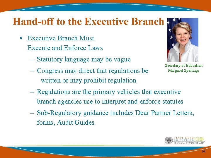Hand-off to the Executive Branch • Executive Branch Must Execute and Enforce Laws –