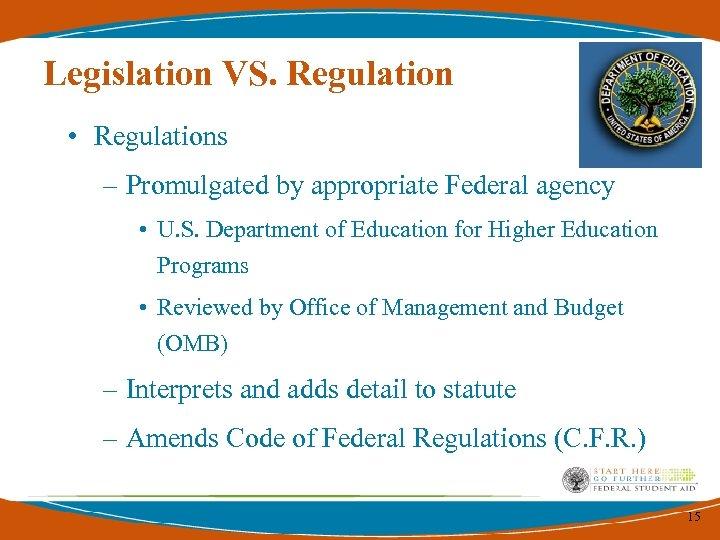 Legislation VS. Regulation • Regulations – Promulgated by appropriate Federal agency • U. S.