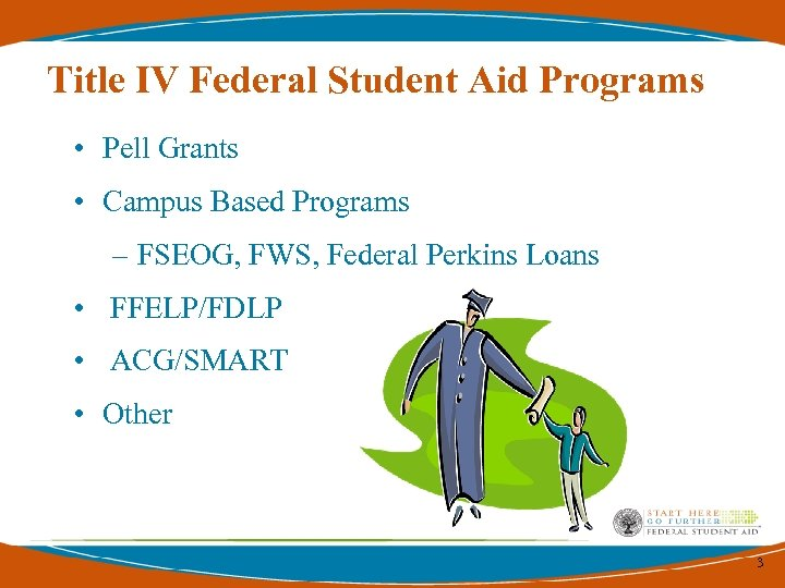 Title IV Federal Student Aid Programs • Pell Grants • Campus Based Programs –