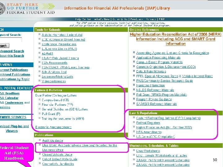 Federal Student Aid (FSA) Handbook 30
