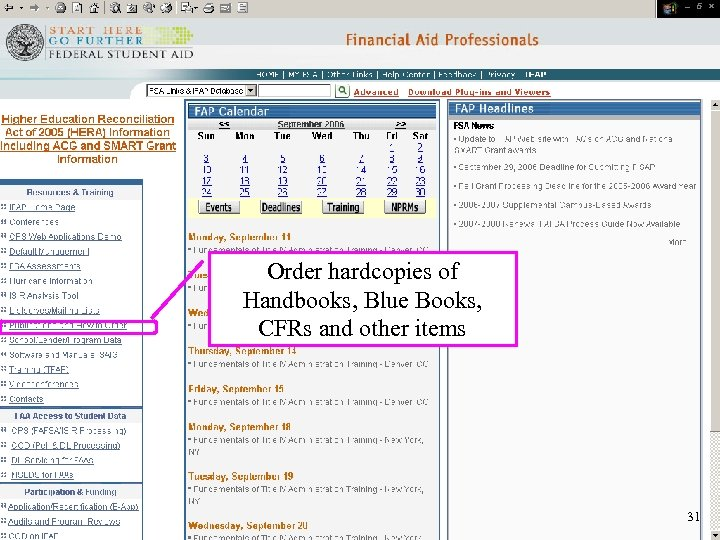 Order hardcopies of Handbooks, Blue Books, CFRs and other items 31