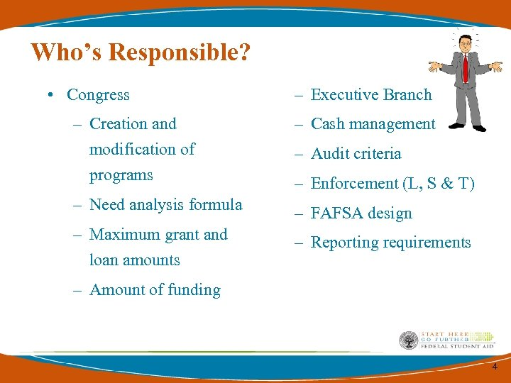 Who's Responsible? • Congress – Executive Branch – Creation and modification of programs –