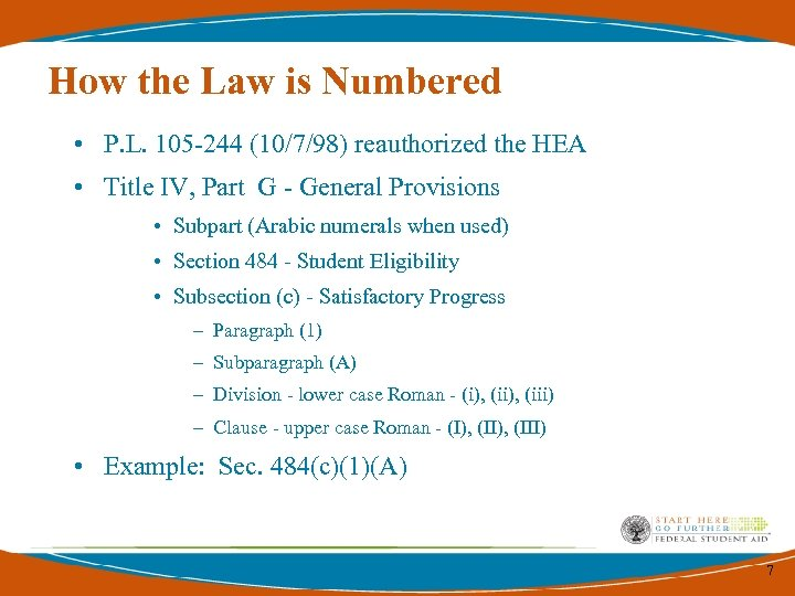 How the Law is Numbered • P. L. 105 -244 (10/7/98) reauthorized the HEA