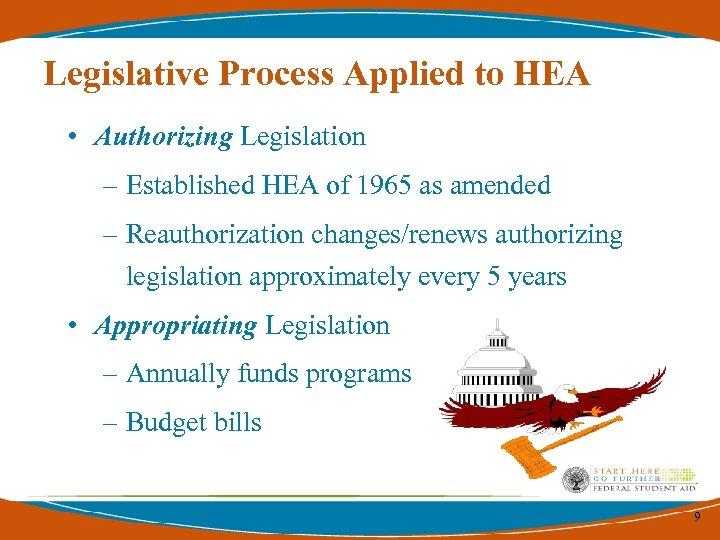 Legislative Process Applied to HEA • Authorizing Legislation – Established HEA of 1965 as
