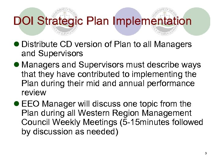 DOI Strategic Plan Implementation l Distribute CD version of Plan to all Managers and