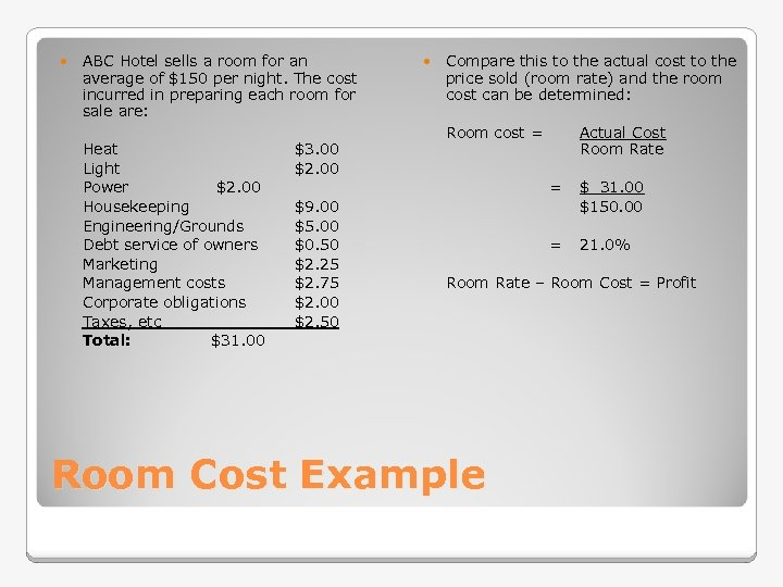 ABC Hotel sells a room for an average of $150 per night. The