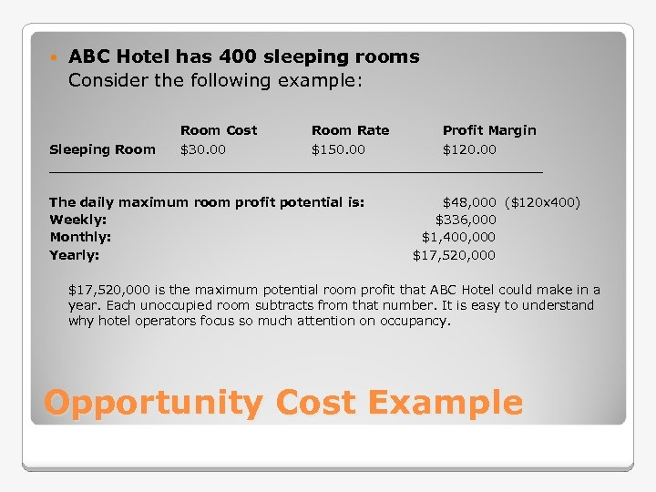 ABC Hotel has 400 sleeping rooms Consider the following example: Room Cost Room