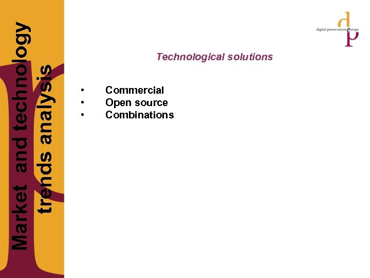 Market and technology trends analysis Technological solutions • • • Commercial Open source