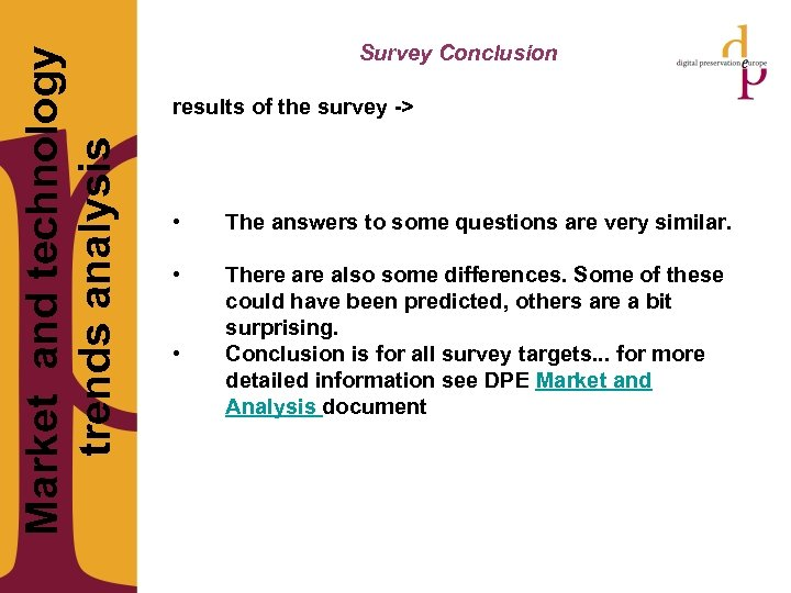 Market and technology trends analysis Survey Conclusion results of the survey -> •