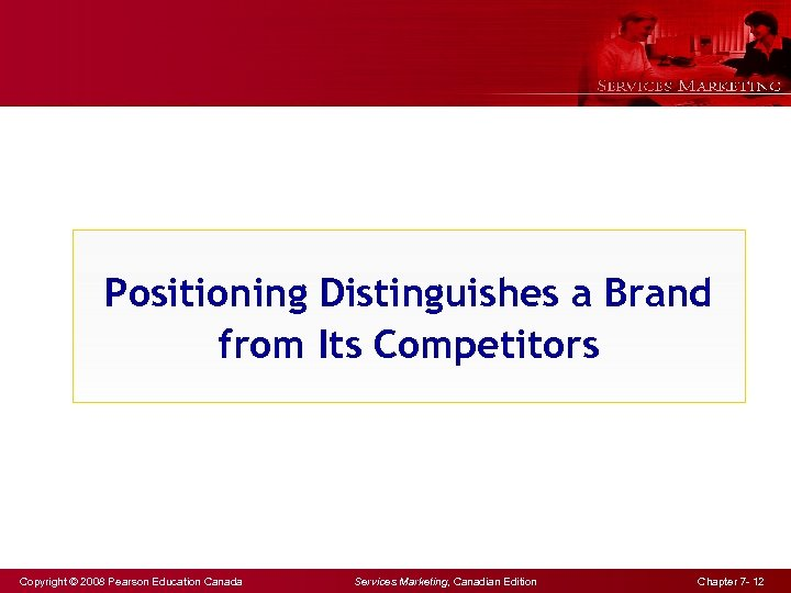 Positioning Distinguishes a Brand from Its Competitors Copyright © 2008 Pearson Education Canada Services