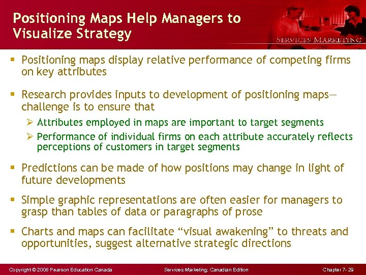Positioning Maps Help Managers to Visualize Strategy § Positioning maps display relative performance of