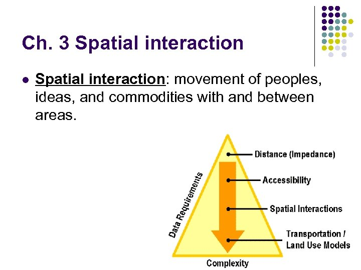 Ch. 3 Spatial interaction l Spatial interaction: movement of peoples, ideas, and commodities with