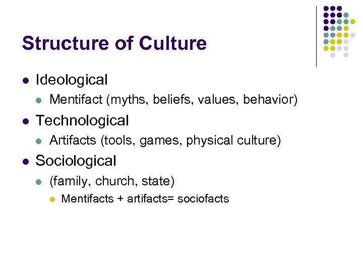 Structure of Culture l Ideological l l Technological l l Mentifact (myths, beliefs, values,