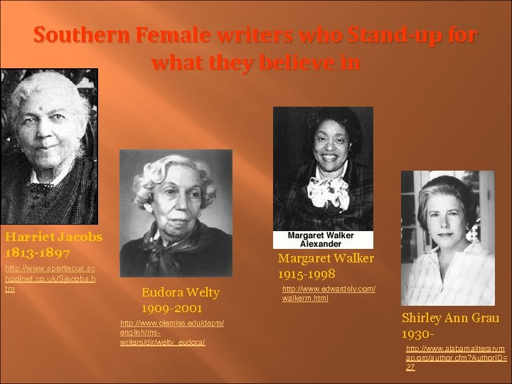 Southern Female writers who Stand-up for what they believe in Harriet Jacobs 1813 -1897