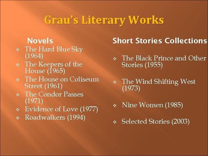 Grau's Literary Works Novels v v v The Hard Blue Sky (1964) The Keepers