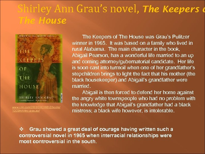 Shirley Ann Grau's novel, The Keepers o The House www. cnn. com/2003/SHOWBIZ/books/ 12/29/shirley. grau.