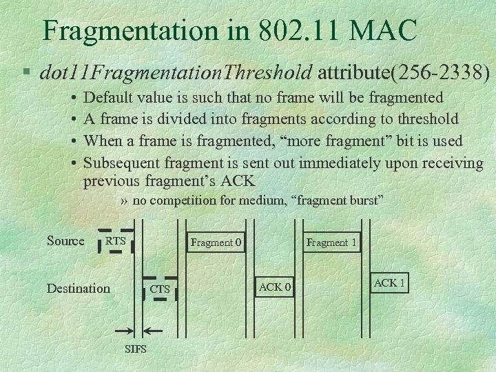 Fragmentation in 802. 11 MAC § dot 11 Fragmentation. Threshold attribute(256 -2338) • •