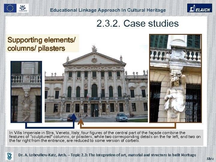 Educational Linkage Approach In Cultural Heritage 2. 3. 2. Case studies Supporting elements/ columns/