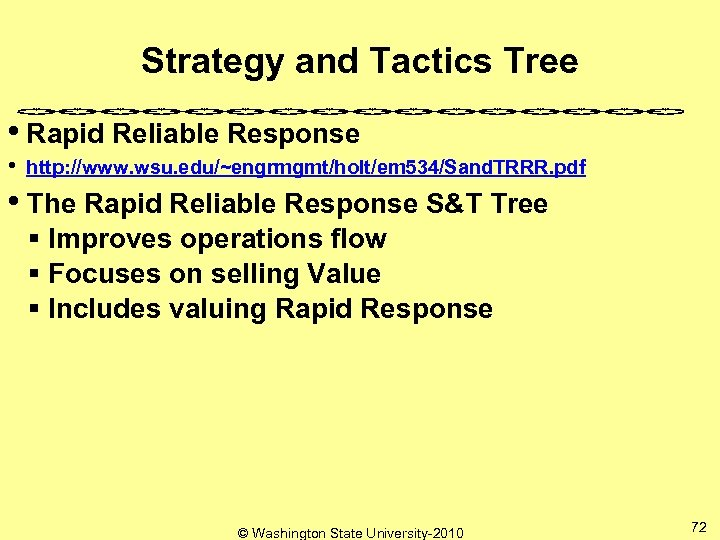 Strategy and Tactics Tree • Rapid Reliable Response • http: //www. wsu. edu/~engrmgmt/holt/em 534/Sand.