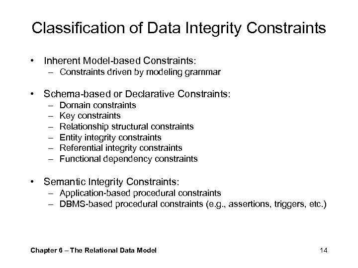 Classification of Data Integrity Constraints • Inherent Model-based Constraints: – Constraints driven by modeling