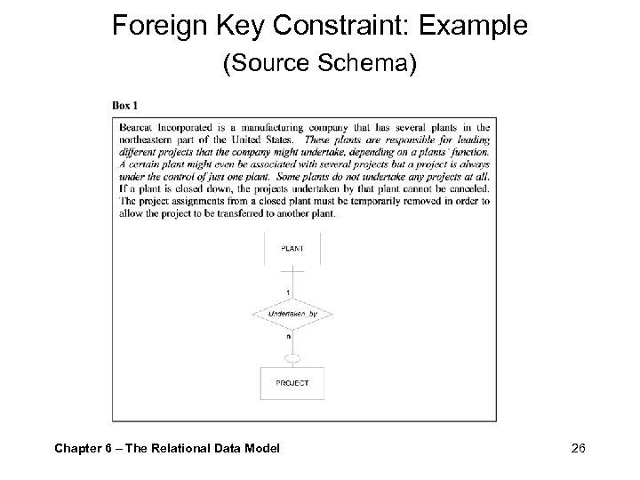 Foreign Key Constraint: Example (Source Schema) Chapter 6 – The Relational Data Model 26