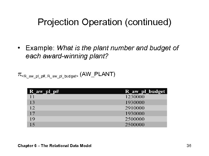 Projection Operation (continued) • Example: What is the plant number and budget of each
