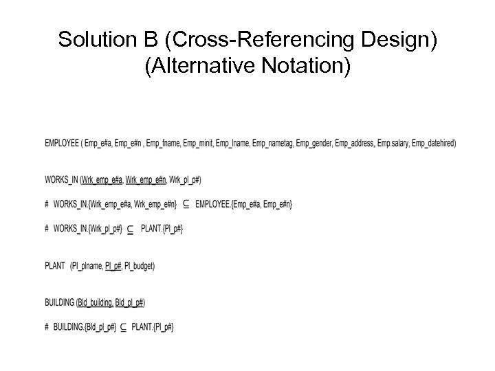 Solution B (Cross-Referencing Design) (Alternative Notation)