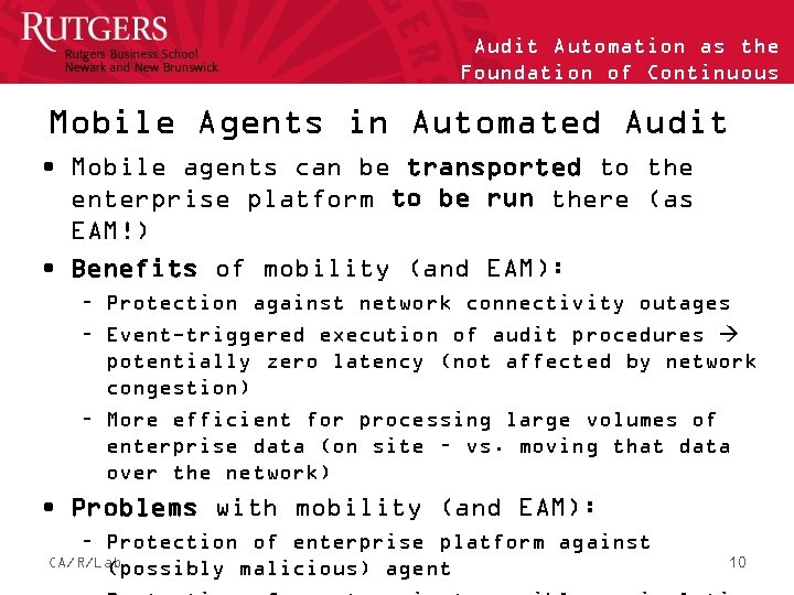 Audit Automation as the Foundation of Continuous Auditing Mobile Agents in Automated Audit •