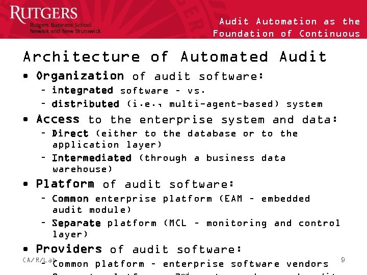 Audit Automation as the Foundation of Continuous Auditing Architecture of Automated Audit • Organization