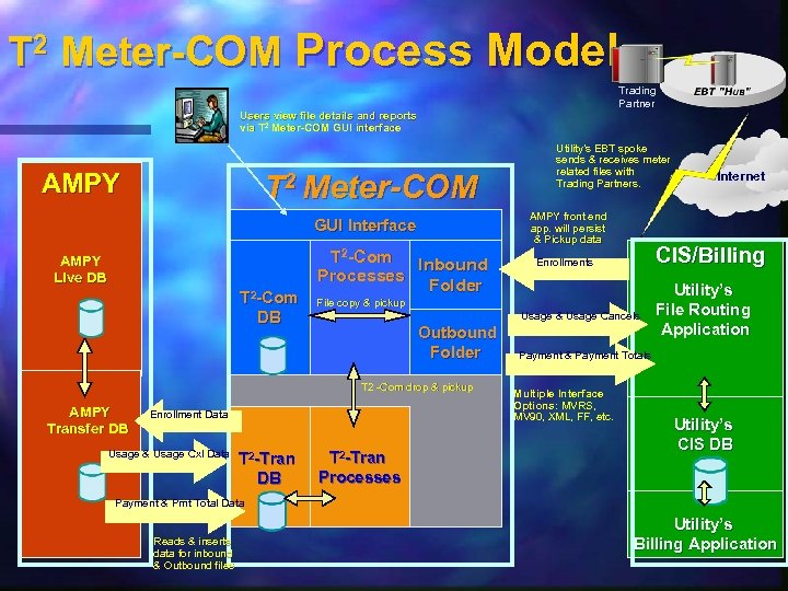T 2 Meter-COM Process Model Trading Partner Users view file details and reports via