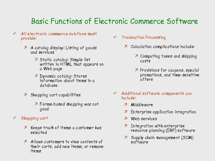 Basic Functions of Electronic Commerce Software ü All electronic commerce solutions must provide: ü