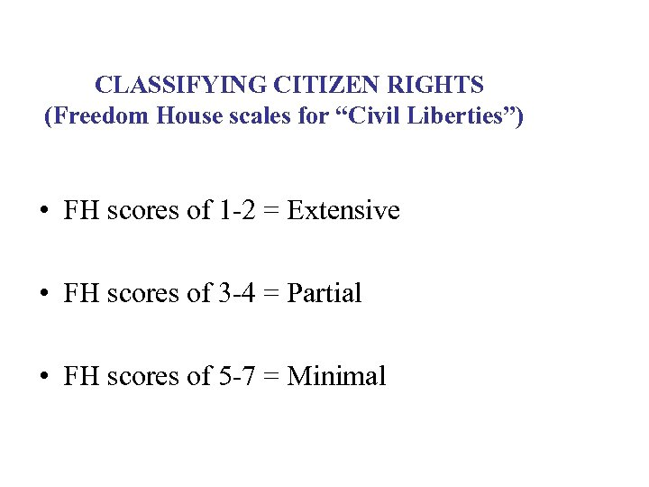 """CLASSIFYING CITIZEN RIGHTS (Freedom House scales for """"Civil Liberties"""") • FH scores of 1"""