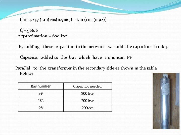 Q= 14. 237 (tan(cos(0. 9065) – tan (cos (0. 92)) Q= 566. 6