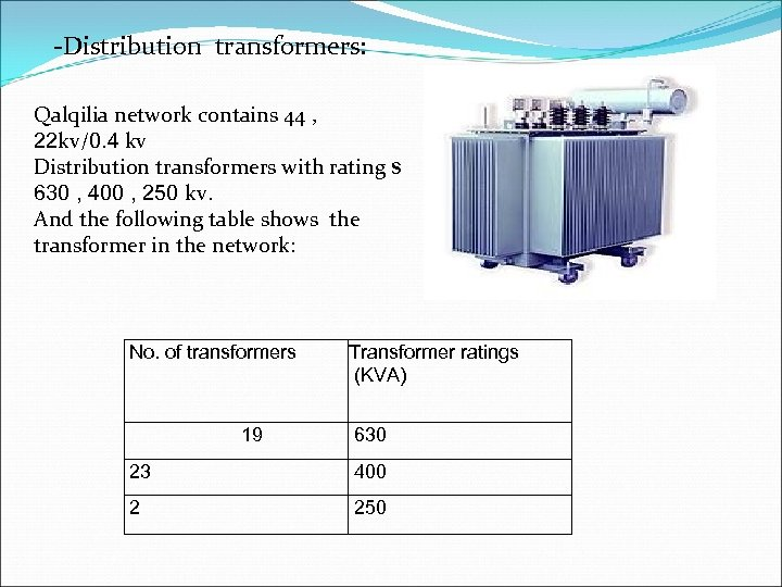 -Distribution transformers: Qalqilia network contains 44 , 22 kv/0. 4 kv Distribution transformers with