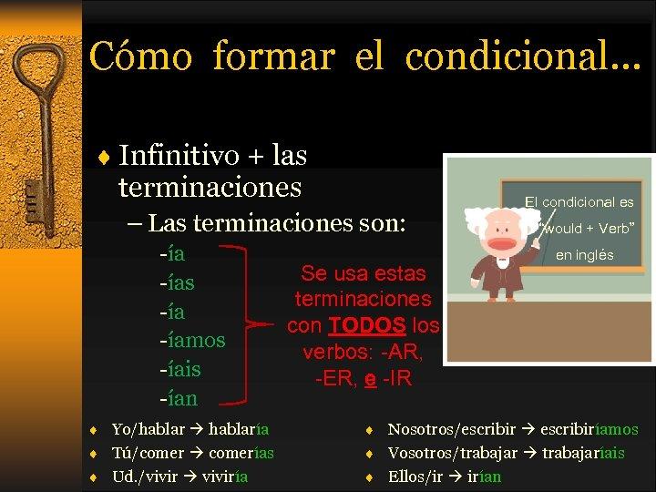 Cómo formar el condicional… ¨ Infinitivo + las terminaciones – Las terminaciones son: -ías